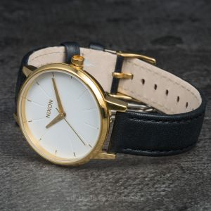 Nixon Kensington Leather Gold/ White/ Black
